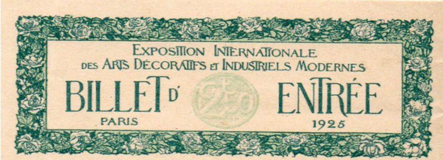 Bilet na Wystawę Sztuki Dekoratorskiej w Paryżu