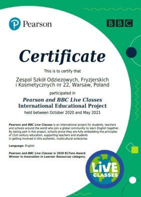 Certyfikat dla szkoły – język angielski